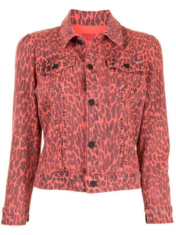 Mother leopard print cropped denim jacket in pink