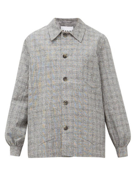 Ganni - Blouson Sleeve Checked Shirt Jacket - Womens - Grey