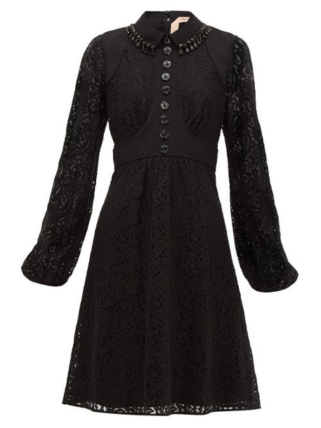 No. 21 - Crystal Embellished Cotton Blend Lace Dress - Womens - Black Navy