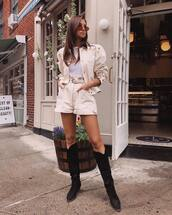 shorts,nude shorts,nude jacket,nude,top,boots,suede boots