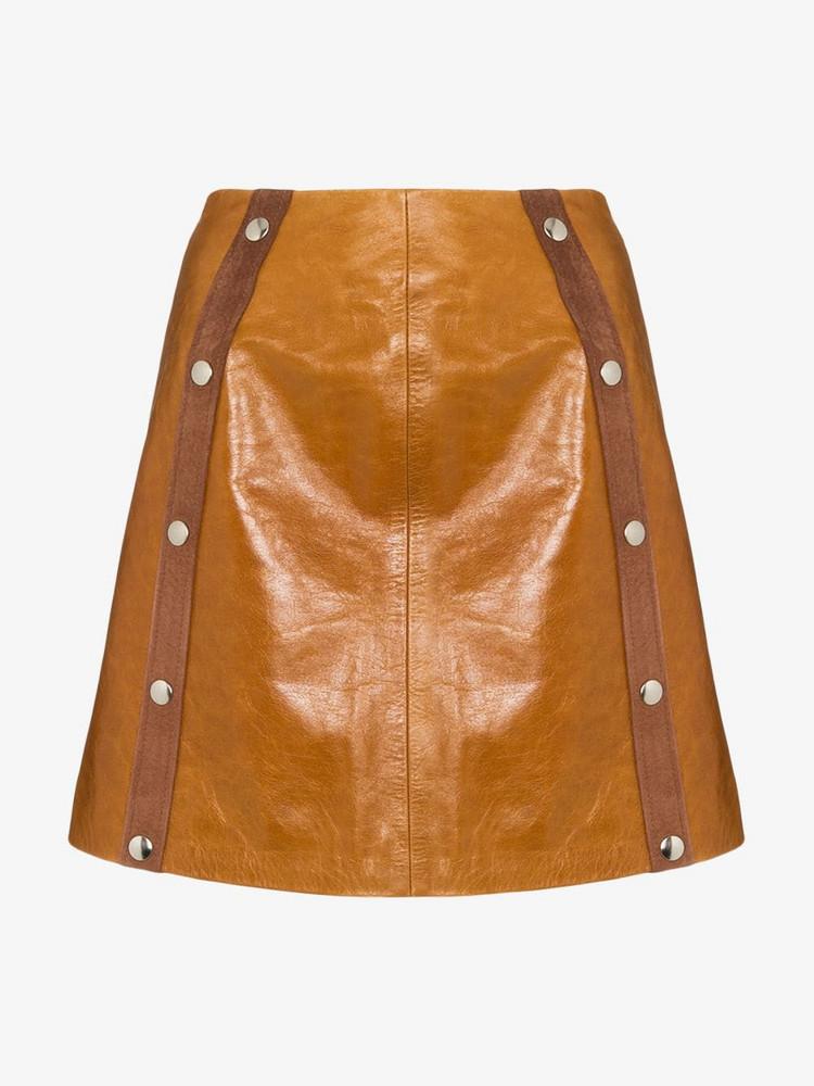 De La Vali Mandy leather mini skirt in brown