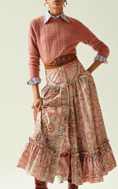 Etro Ruffle-Trimmed Cotton-Poplin Midi Skirt in multi