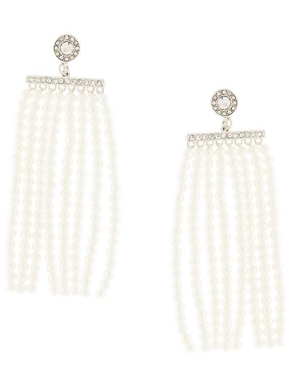 Kenneth Jay Lane pearl fringe earrings in white