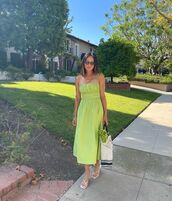 dress,midi dress,green dress,white sandals,song of style,bag
