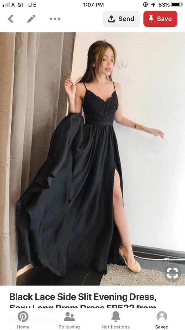 dress v neck spaghetti strap black dress