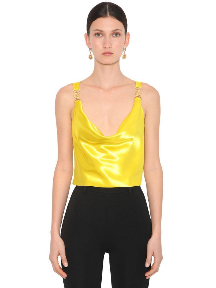 VERSACE Draped Silk Satin Top in yellow