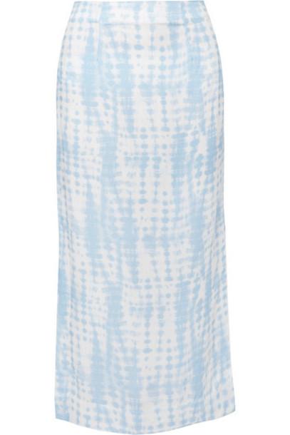 STAUD - Penny Tie-dye Jersey Midi Skirt - Sky blue