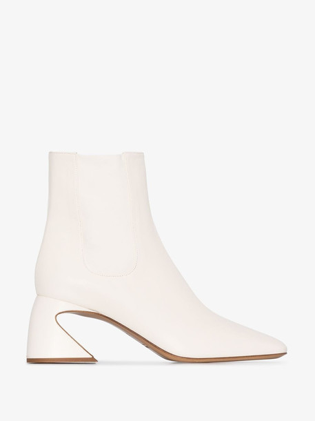 Jil Sander white 70 round toe ankle boots