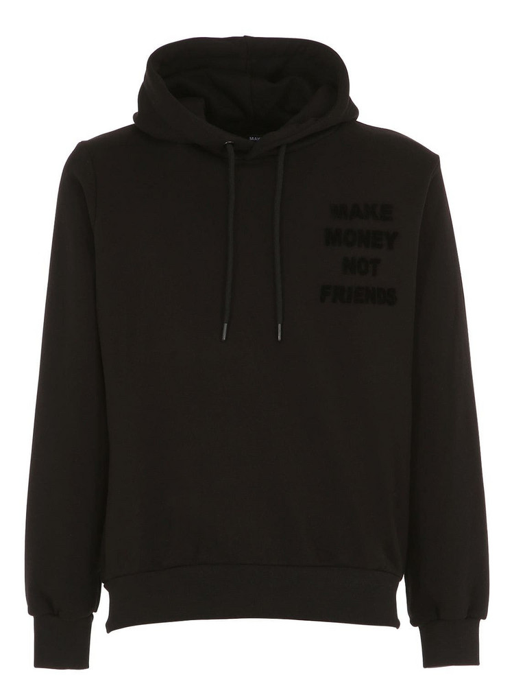 MAKE MONEY NOT FRIENDS Logo Print Cotton Sweatshirt Hoodie in black