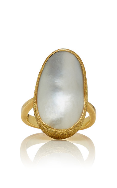 Mahnaz Collection One-of-a-Kind 18K Gold Pearl Ring in white