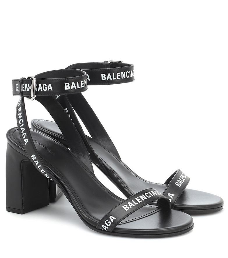 Balenciaga Logo leather sandals in black