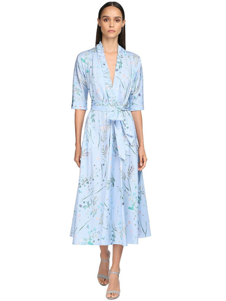 LUISA BECCARIA Floral Print Washed Cotton Midi Dress in blue / multi