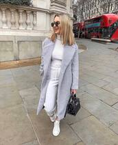 coat,wool coat,long coat,grey coat,white sneakers,black bag,patent bag,white pants,white turtleneck top,sunglasses