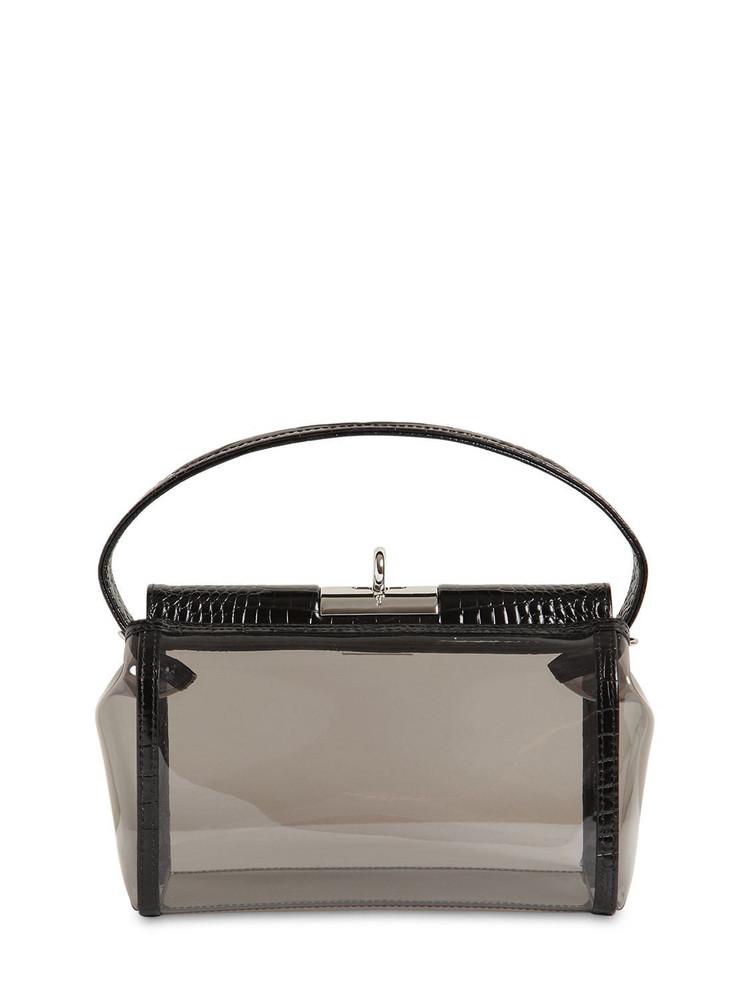 GU DE Water Pvc & Croc Embossed Leather Bag in black