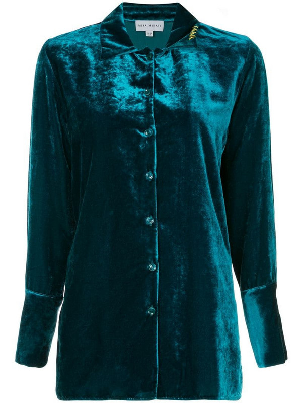 Mira Mikati velvet loose-fit shirt in blue
