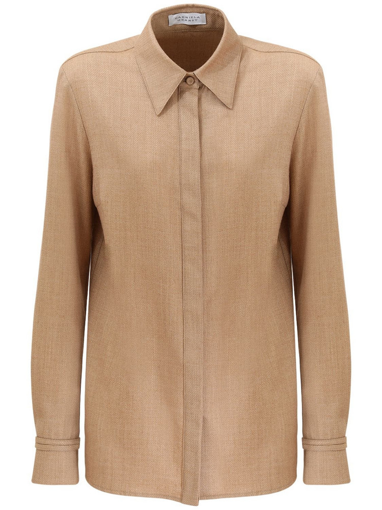 GABRIELA HEARST Hopsack Wool & Cashmere Flannel Shirt in camel