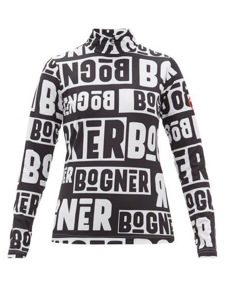 Bogner - Beline Logo Print Quarter Zip Thermal Top - Womens - Black White