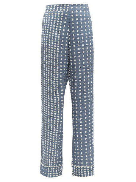 Asceno - Polka Dot Sandwashed Silk Pyjama Trousers - Womens - Blue Multi