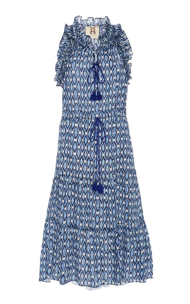 Figue Gabriella Tiered Cotton Midi Dress in blue