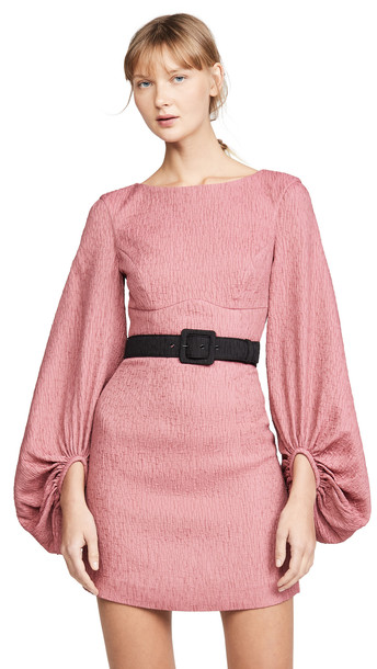 Rebecca Vallance Greta Long Sleeve Mini Dress in pink