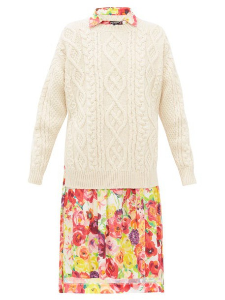 Junya Watanabe - Cable Knit Wool And Floral Print Crepe Dress - Womens - Cream Multi