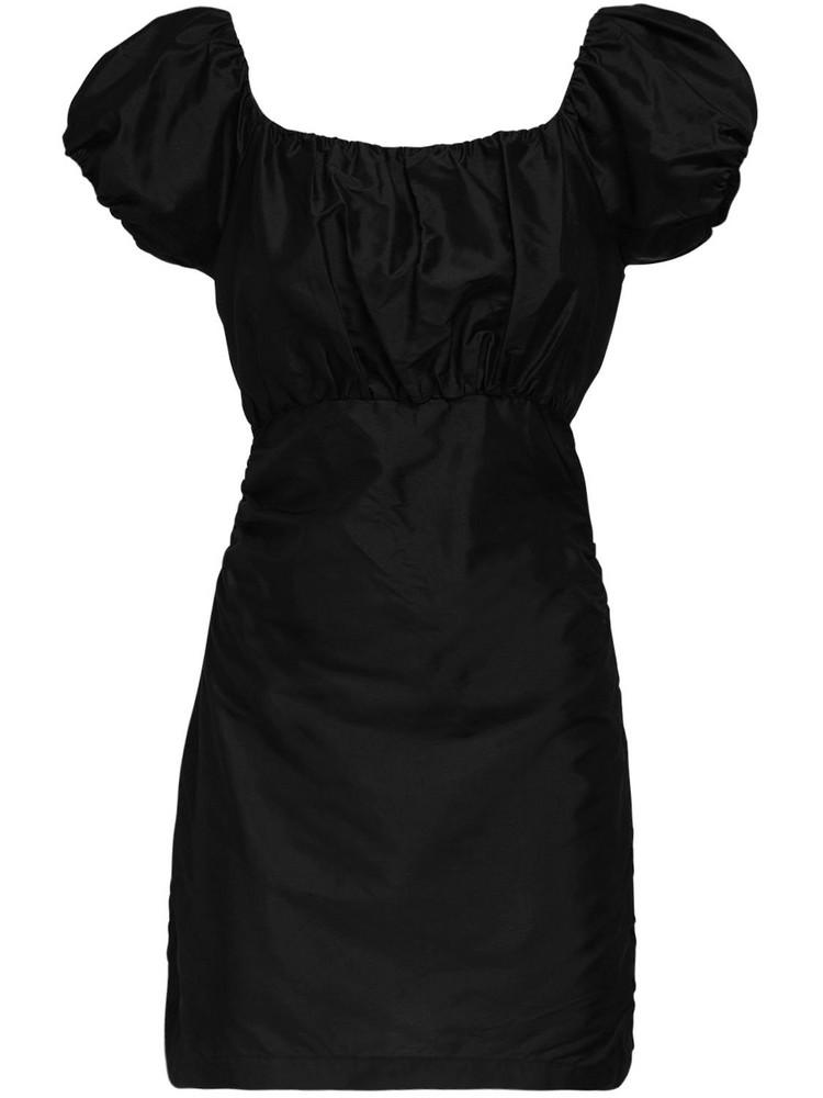 SIR THE LABEL Valetta Silk Taffeta Mini Dress in black