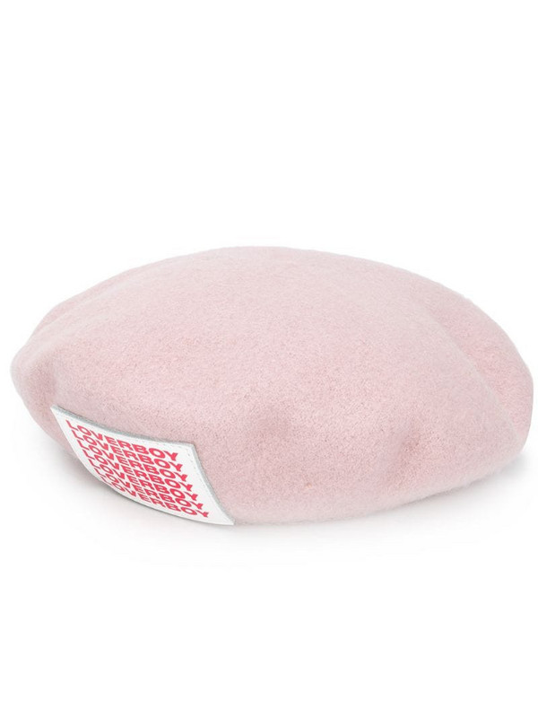 Charles Jeffrey Loverboy logo patch beret in pink