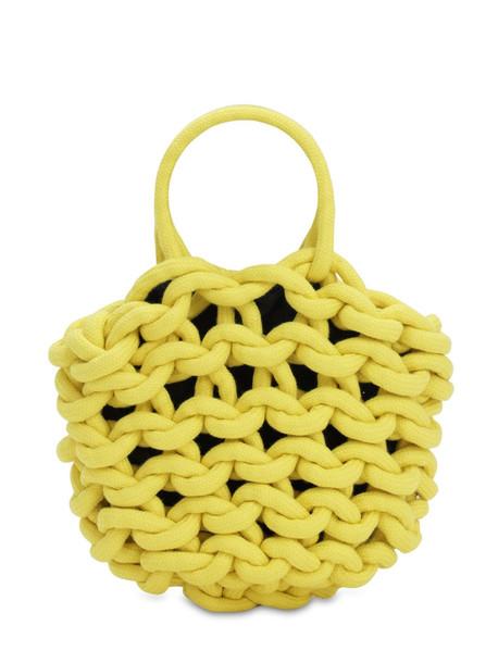ALIENINA Julia Rope Bucket Cotton Top Handle Bag in yellow