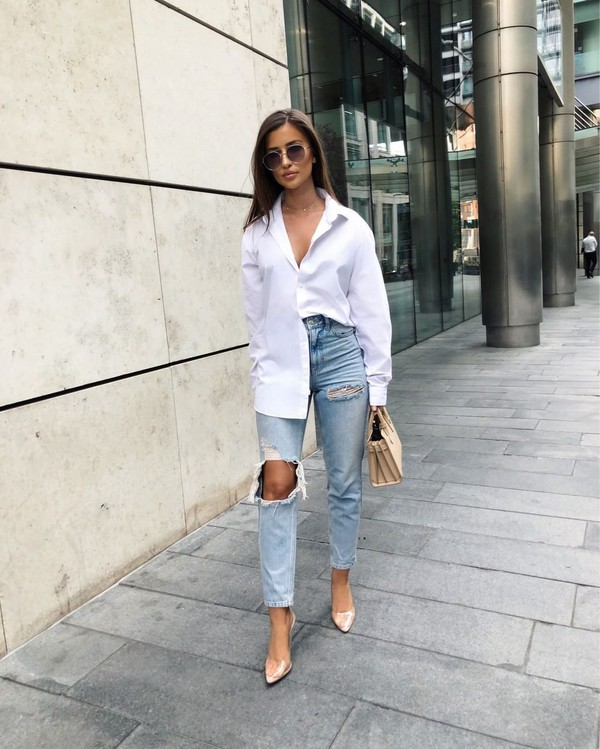jeans mom jeans high waisted jeans ripped jeans pumps white shirt handbag