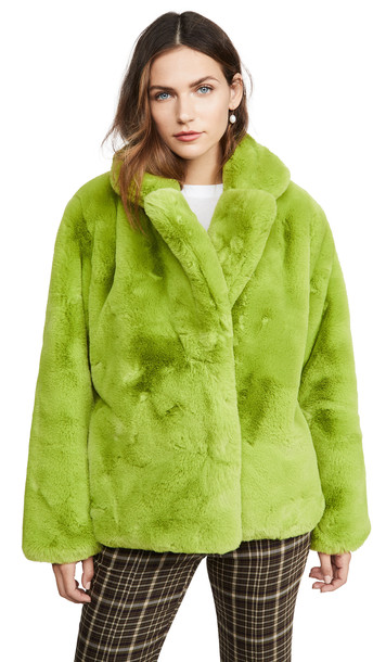 Apparis Manon Faux Fur Jacket in green