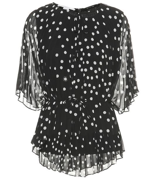 Stella McCartney Polka-dot crêpe de chine blouse in black