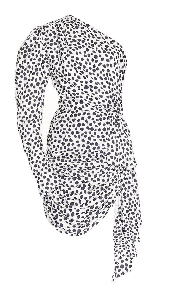16Arlington One-Shoulder Puff Sleeve Crepe Mini Dress in black / white