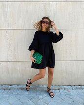 dress,black dress,babydoll dress,black sandals,flat sandals,bag
