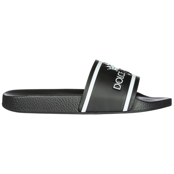 Dolce & Gabbana Men's Genuine Leather Slippers Sandals in nero