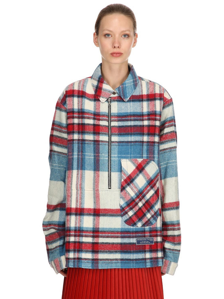 WE11 DONE English Wool Check Plaid Shirt Jacket in blue