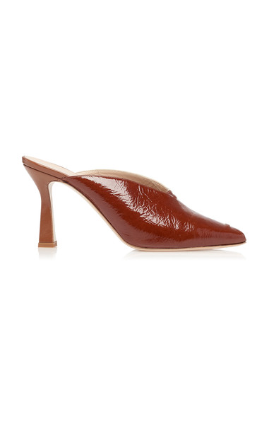 Wandler Niva Two-Tone Patent Leather Mules in brown