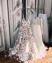 dress,wedding dress,white,floral