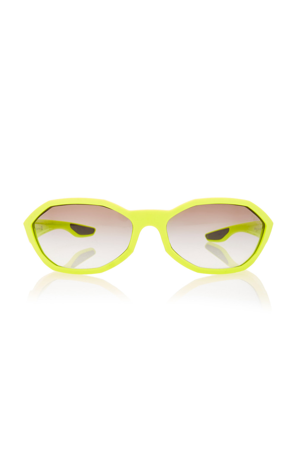 Prada Linea Rossa Hexagon-Frame Acetate Sunglasses in yellow