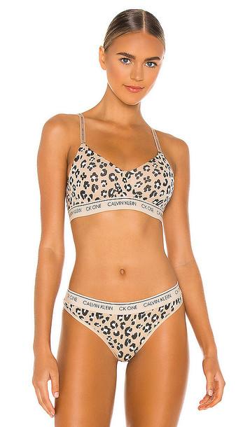 Calvin Klein Underwear CK One Cotton Wirefree Bralette in Tan