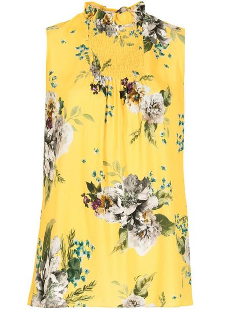 Erdem Ralph Carnation Bouquet-print top in yellow