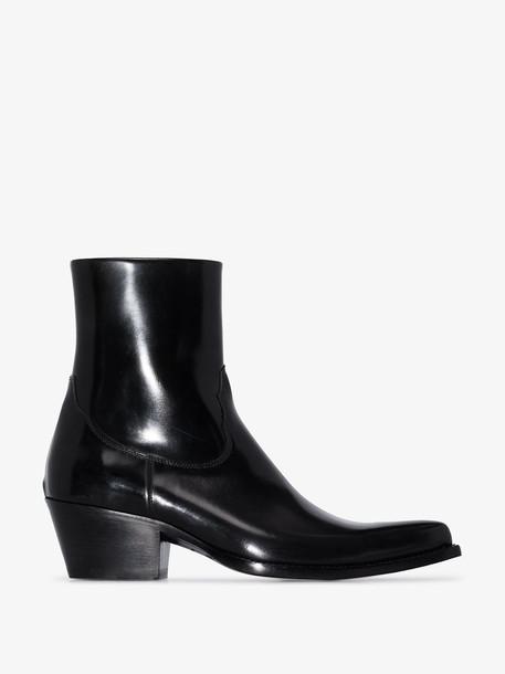 Sunflower black patent leather cowboy boots
