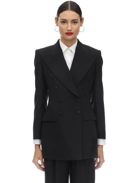 DOLCE & GABBANA Double Breast Techno Gabardine Jacket in black