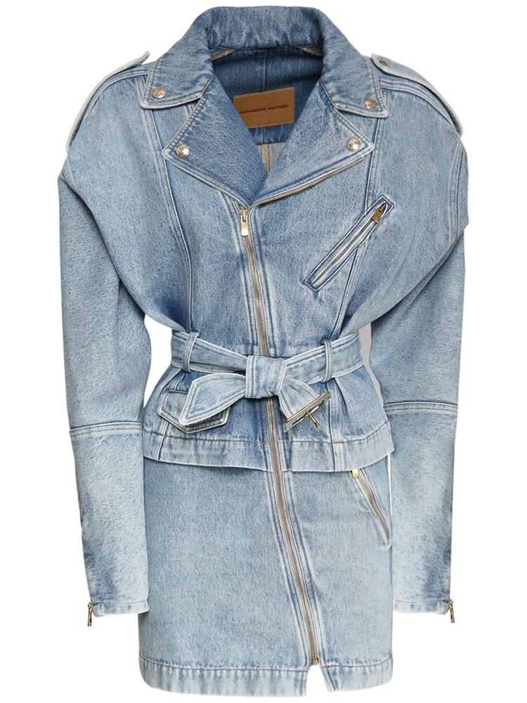 ALEXANDRE VAUTHIER Cotton Denim Mini Dress W/self-tie Belt in blue