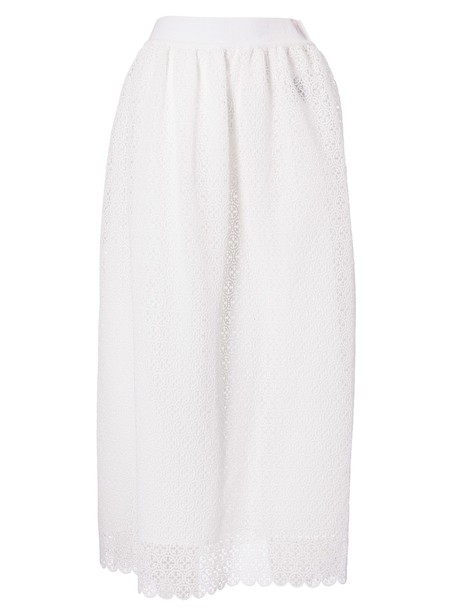 Off-white Perforated Fitted Skirt