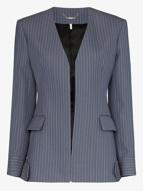 Chloé Chloé collarless pinstripe wool blazer in blue