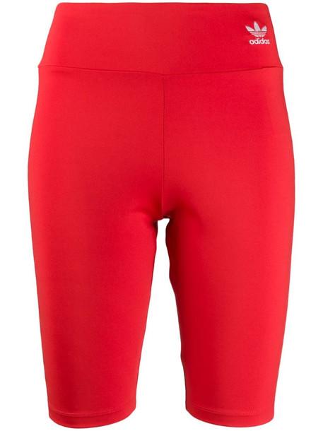 adidas logo print biker shorts in red