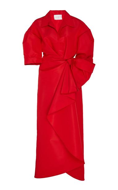 Carolina Herrera Knot-Detailed Silk Dress in red