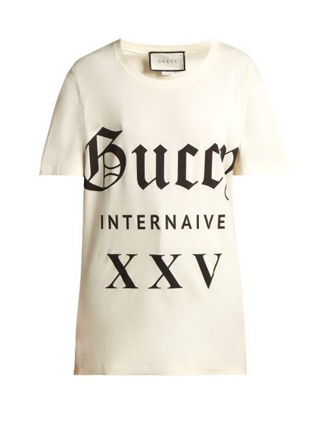 Gucci - Printed Cotton Jersey T Shirt - Womens - White