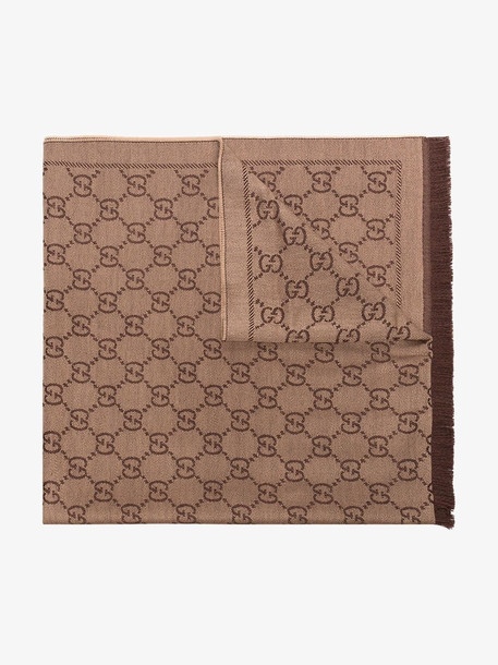 Gucci Brown monogram wool scarf