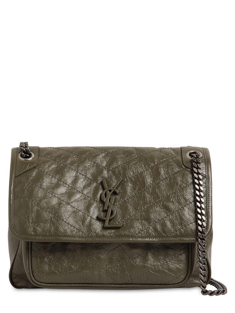 SAINT LAURENT Medium Niki Monogram Leather Bag in green